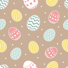 Wall Mural - Vector easter seamless pattern. Flowers eggs background for  cupcake wrapper