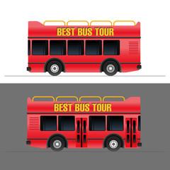 Red touristic bus vector illustration set