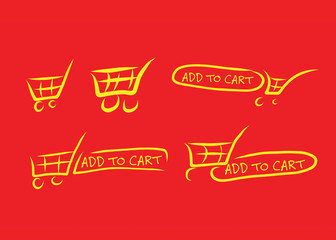 Hand drawn cart icons
