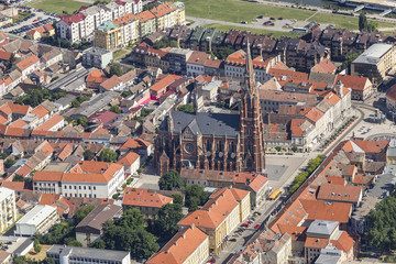 Osijek cathedral from the air