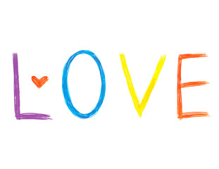 Word ''Love'' with abstract heart