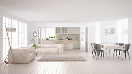 Minimalist white living and kitchen, scandinavian classic interior design