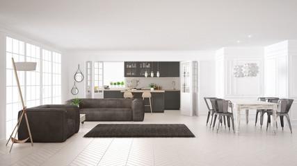 Minimalist white living and kitchen, scandinavian classic interior design
