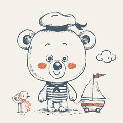 Cute baby bear sailor with a toy ship cartoon hand drawn vector illustration. Can be used for baby t-shirt print, fashion print design, kids wear, baby shower celebration greeting and invitation card.