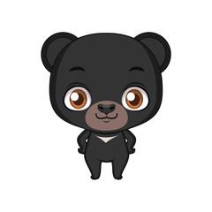 Cute stylized cartoon black bear illustration ( for fun educational purposes, illustrations etc. )