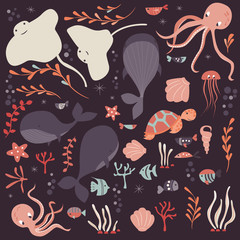Collection of colorful sea and ocean animals, whale, octopus, stingray