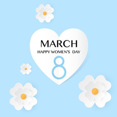 Blue Floral Greeting card Women s Day 8 March