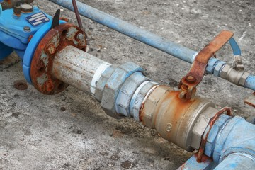 water valve plumbing joint , steel rust industrial old tap pipe