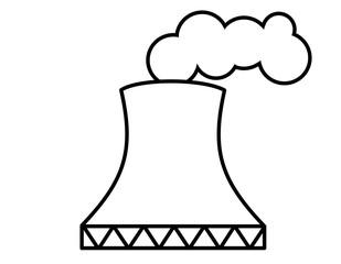 原子力発電所(線画、煙)