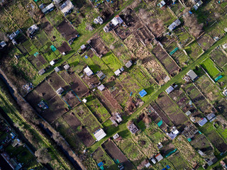 English allotments, aerial view