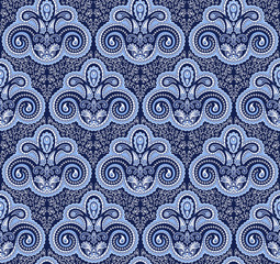 Vintage paisley seamless pattern. Ethnic ornament. Stylized decorative tribal painting. Traditional Indian, Turkey, oriental handcraft. Seamless texture in blue colors. Vector illustration.
