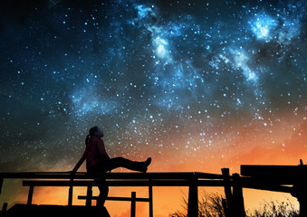 Girl watching the stars