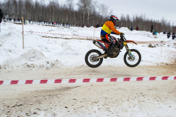 racing motorcycle in winter