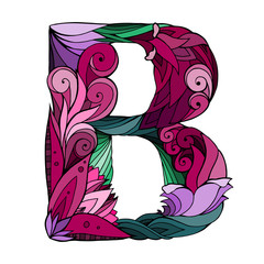 Freehand drawing capital letter B with floral doodle pattern. Vector element for your design
