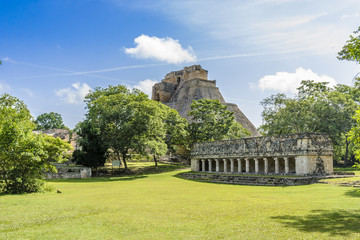 sight of of the Mayan archaeological Uxmal enclosure in Yucatan, Mexico