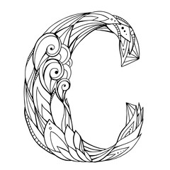 Black and white freehand drawing capital letter C with floral doodle pattern. Vector element for your design