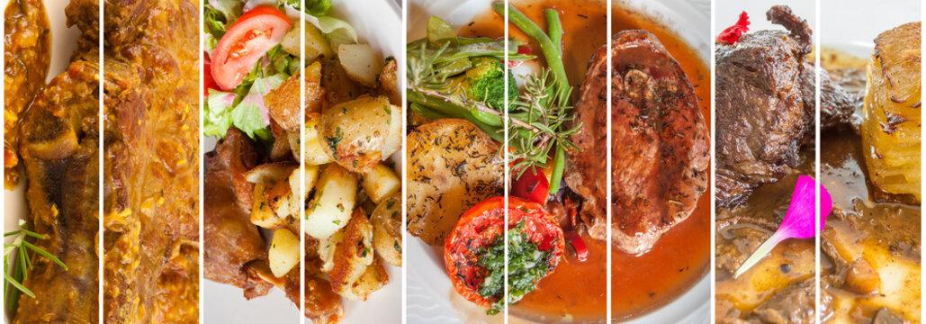 assemblage de plats cuisinés à base de viande