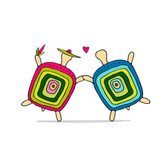 Funny turtle couple, sketch for your design