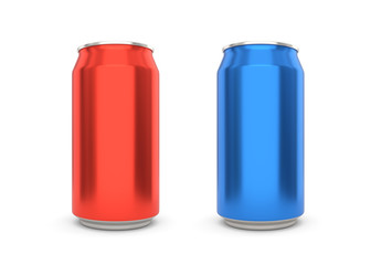 Red and Blue can isolated on white background. 3D illustration