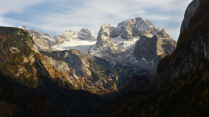 View of Dachstein Group from Gosau valley, Austria