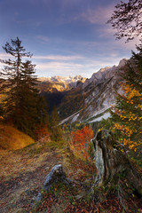 Gosau in autumn with Dachstein mountain on background, Austria