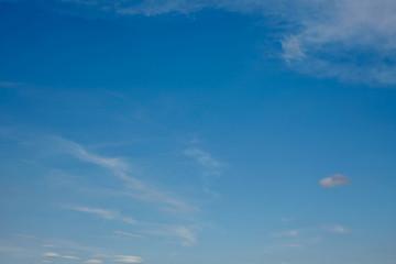 Weiter blauer Himmel mit wenigen Wolken