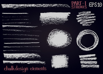 Chalk texture design elements Lines, stripes, strokes, round and rectangle shapes, frames on black board.