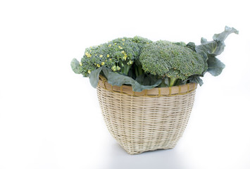 beautiful fresh Broccoli on handmade bamboo basket