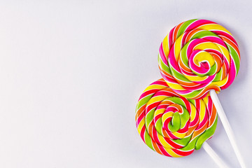 The spiral lollipops on white background