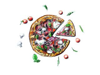 Hand Drawn Sketch Pizza illustration on white background