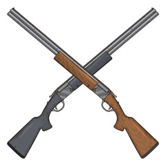 Two crossed shotguns, vector illustration isolated on white background. Hunting gun.