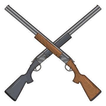Two crossed shotguns, vector illustration isolated on white background. Hunting gun.