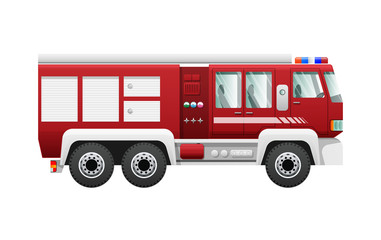 Transport. Isolated Red Fire Truck on Six Wheels
