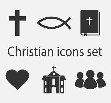 Modern christian icons set. Christian sign and symbol collection. Vector illustration.