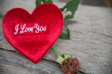 Love you on red heart with rose