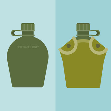 army water canteen and case in flat design vector icon