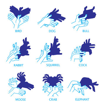 Shadow Hand Puppets Isolated on a White Background for Your Design. Shadow Theater or Shadow Play. Set. Bird, dog, bull, rabbit, squirrel, cock, moose, crab and elephant.