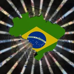 Brazil map flag on currency burst illustration