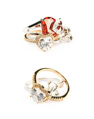 Pile of heart shaped rings isolated