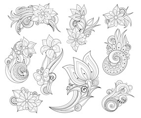 Vector Set of Beautiful Monochrome Flowers and Leaves