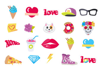 Vector Icons Set Stickers Snack Accessory Items