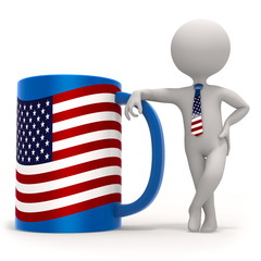 Cup with USA flag and small character wearing tie. 3D illustration
