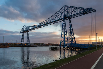 Transporter Bridge, crossing the River Tees and connecting Middlesbrough and Port Clarence, England, UK
