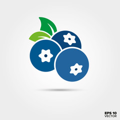 Blueberries and leaves vector icon