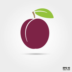 Prune or plum fruit with leaf vector icon