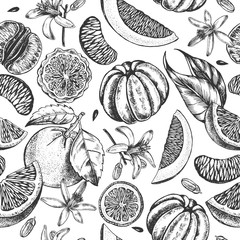 Decorative seamless pattern with ink hand-drawn tangerine and citrus slices. Vector illustration.