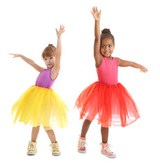 Cute little ballerinas on white background