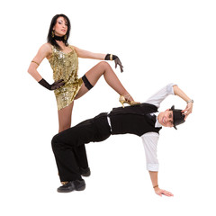 Cabaret dancer couple dancing. Isolated on white background in full length.