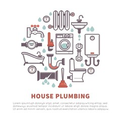 House plumbing of bathroom and kitchen vector icons