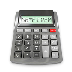 """calculator with """"game over"""" displayed, 3d rendering"""